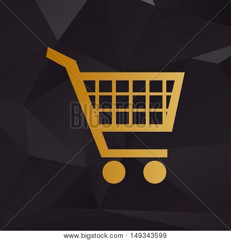 Shopping Cart Sign. Golden Style On Background With Polygons.