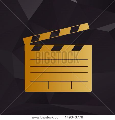 Film Clap Board Cinema Sign. Golden Style On Background With Polygons.