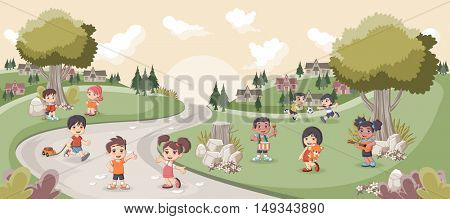 Park with cute cartoon kids playing. Sports and recreation.