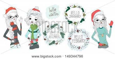 Hello Winter Set Illustration with Hello December, Hello January, Hello February Typography Lettering and Tree Beautiful Girls Wearing Winter Warm Clothes