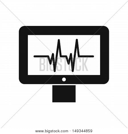 Electrocardiogram monitor icon in simple style on a white background vector illustration