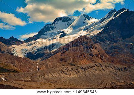 Landscape Athabasca glacier in Rocky Mountains Alberta Canada