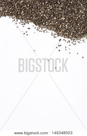 Superfood chia seeds isolated on white background