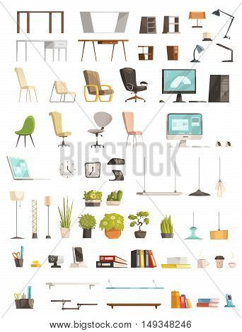 Modern office furniture organizers and accessories top design trends cartoon stile icons objects collection isolated vector illustration