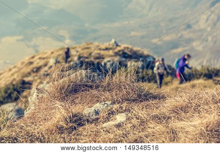People ascending a mountain. Hikers blurred in the background.