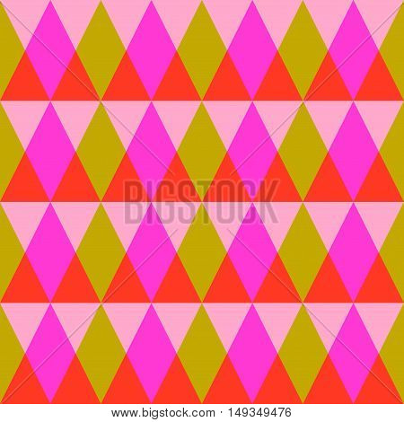 Triangle seamless pattern with pastel pink, magenta, orange, yellow crossing triangles. Triangular geometrical background. Modern stylish texture. Repeating geometric tiles. Vector illustration.