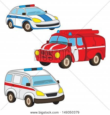 police fire ambulance - vector illustration, eps-10