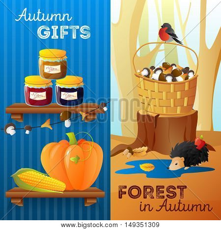 Flat design vertical autumn banners with seasonal vegetables jam mushrooms and forest animals isolated vector illustration