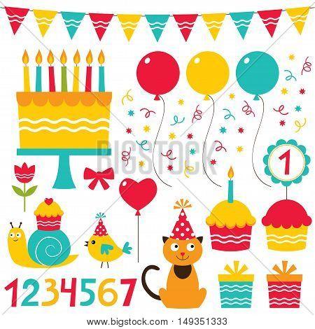 Birthday party, cartoon isolated design elements set