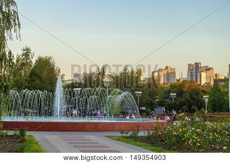 BELGOROD RUSSIA - SEPTEMBER 10 2016: Part of the area three museums in the city of Belgorod. Fountain and permanent exposition of military equipment near a diorama museum