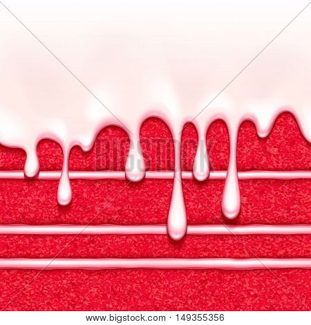 Red velvet sponge cake with white cream filling and glaze flow background. Colorful seamless texture. Vector illustration. Good for bakery menu design - poster banner flyer packaging.