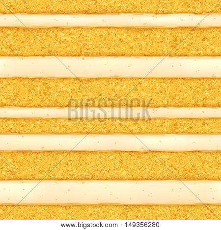 Sponge cake with white cream filling background. Colorful seamless texture. Vector illustration. Good for bakery menu design - poster banner flyer packaging.