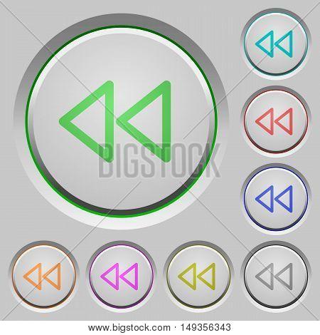 Set of color media fast backward sunk push buttons.