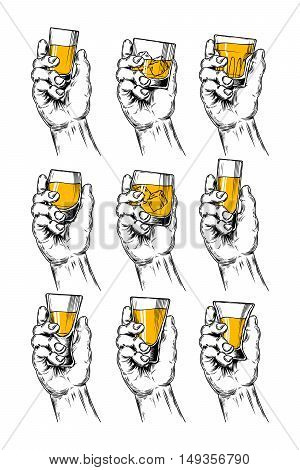 Set of vector illustrations of hands holding stemware with alcohol