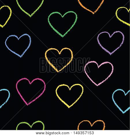 Heart background vector. Seamless, pattern. Hand drawn hearts and lines.