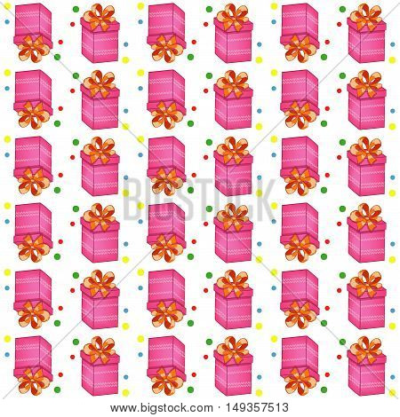 Christmas presents seamless pattern. Vector illustration of cartoon gifts isolated on white - vektor illustration