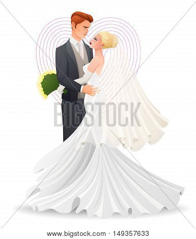 Happy beautiful wedding hugging couple in love watching on each other. Traditional wedding cartoon vector illustration isolated on white background.