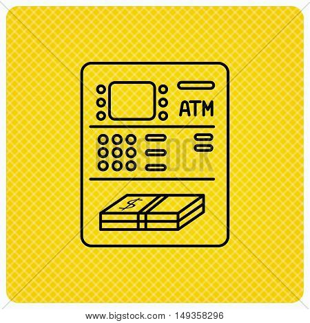 ATM icon. Automatic cash withdrawal sign. Linear icon on orange background. Vector