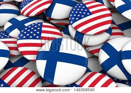 Usa And Finland Badges Background - Pile Of American And Finnish Flag Buttons 3D Illustration