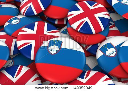 Slovenia And Uk Badges Background - Pile Of Slovenian And British Flag Buttons 3D Illustration