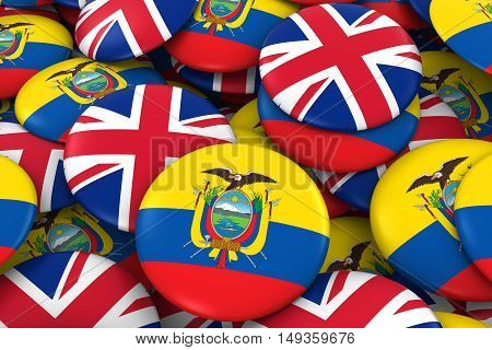 Ecuador And Uk Badges Background - Pile Of Ecuadorian And British Flag Buttons 3D Illustration