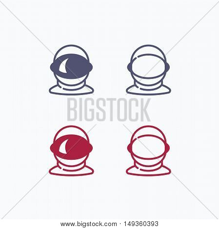Space logo, space helmet vector design, asteroid vector