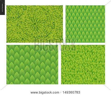 Foliage set. Green leaf seamless vector catroon hand drawn patterns