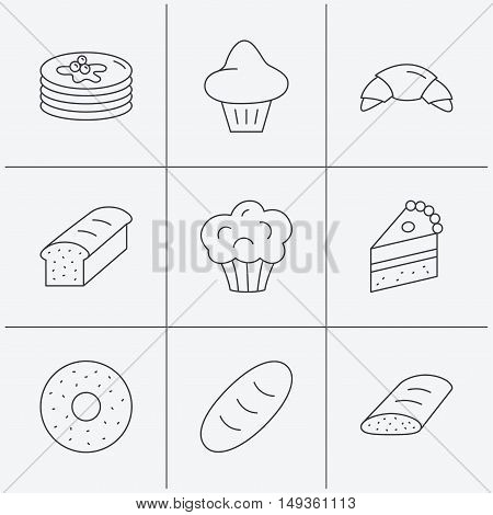 Croissant, cake and bread icons. Muffin, brioche and sweet donut linear signs. Pancakes with syrup flat line icons. Linear icons on white background. Vector