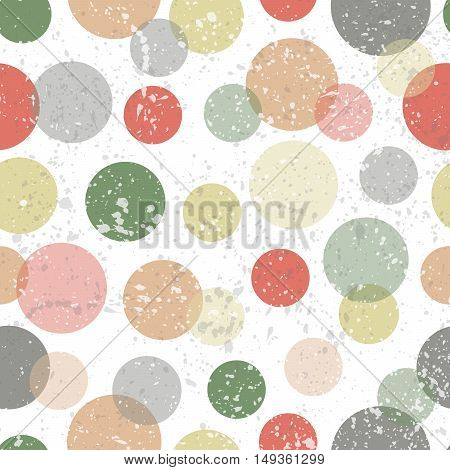 Seamless pattern with vintage color cirles and spots vector illustration. Abstratc vintage seamless pattern