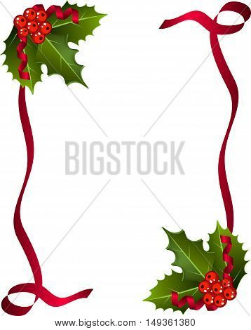 Christmas Berries with red ribbon and green leaves over white background.Christmas holly set Holly Christmas decoration. Element for design