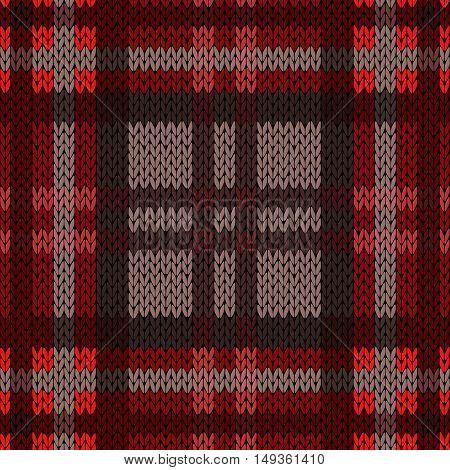 Knitting Seamless Pattern In Dark Warm Colors
