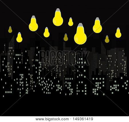 Night city vector illustration.Light bulb above the city.Vector black Skyscrapers silhouette.Dark urban scape. Modern cityscape in flat style.Skyline abstract background.