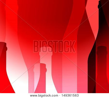 Background red Bottle Ilustration.Alcoholic Bar Menu.Design for Party.Template for Menu Card.Wine List Placard.Suitable for Poster.Card Cocktail Invation.Bottle of Wine Vector.