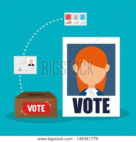 avatar woman political candidate placard and vote carton box. vector illustration