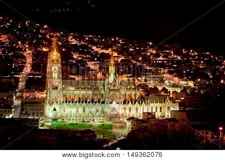 The Basilica church located in the historic center of Quito, Ecuador.