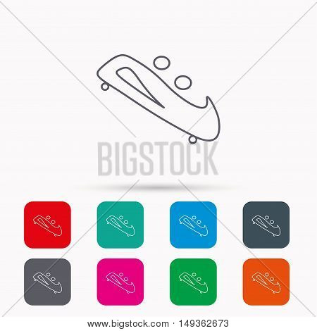 Bobsleigh icon. Two-seater bobsled sign. Professional winter sport symbol. Linear icons in squares on white background. Flat web symbols. Vector