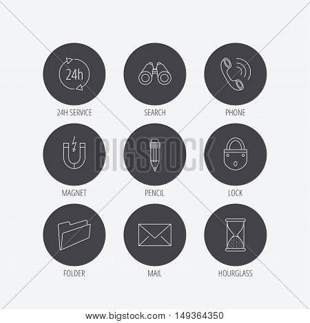 Phone call, pencil and mail icons. Search, 24h support and folder linear signs. Hourglass, magnet energy flat line icons. Linear icons in circle buttons. Flat web symbols. Vector