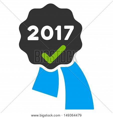 2017 Approve Award icon. Glyph style is flat iconic symbol on a white background.