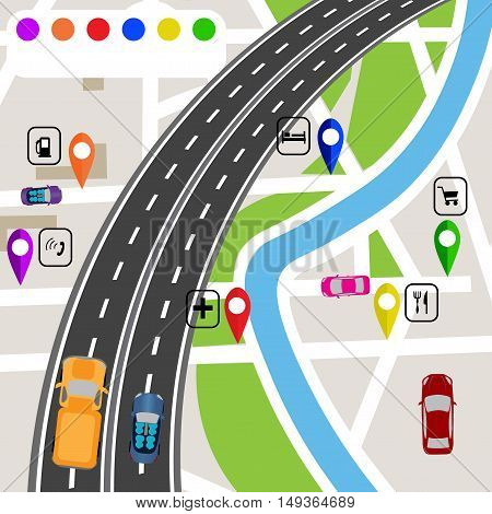 Road infographics. Slight bend in the road with markers on the map terrain. The path specifies the navigator. Vector illustrations
