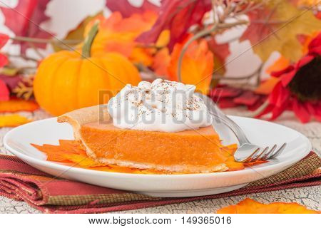 Slice of pumpkin pie plated among beautiful autumn colors.