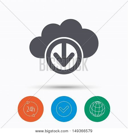 Download from cloud icon. Data storage technology symbol. Check tick, 24 hours service and internet globe. Linear icons on white background. Vector