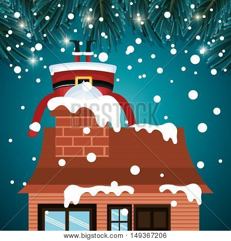 santa claus stuck chimney house snwofall graphic vector illustration