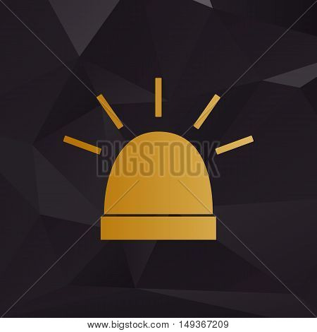 Police Single Sign. Golden Style On Background With Polygons.
