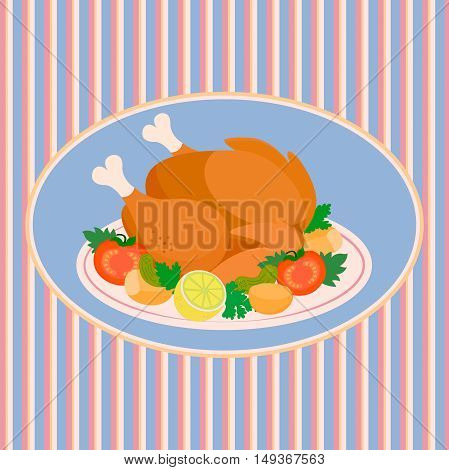 The turkey on a platter with tomatoes gherkins potatoes and lemon on the background of the tablecloth