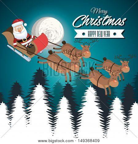 card merry christmas santa flying reindeer landscape white vector illustraion