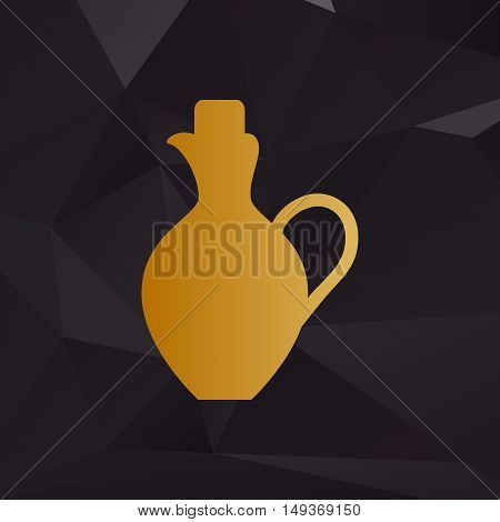 Amphora Sign Illustration. Golden Style On Background With Polygons.