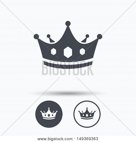 Crown icon. Royal throne leader symbol. Circle buttons with flat web icon on white background. Vector