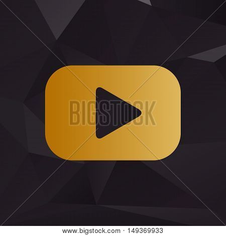 Play Button Sign. Golden Style On Background With Polygons.
