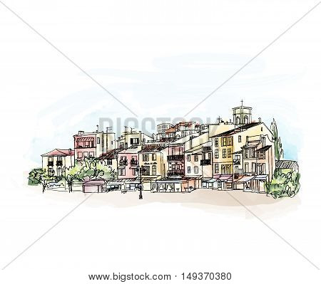 Old city street with shops and cafe. European cityscape. Cityscape - houses buildings and tree on alleyway. Old city view. Medieval european watercolor landscape. Pencil drawn vector colored sketch. Cote d'Azur Cassis skyline.