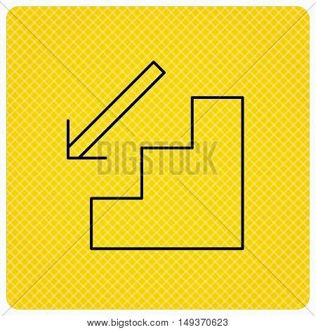 Downstairs icon. Direction arrow sign. Linear icon on orange background. Vector